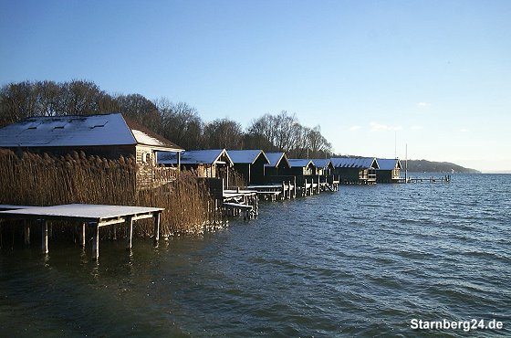 Winterliche Bootsh�user nahe Percha Beach